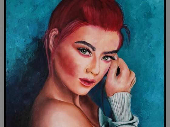 Frauen Portrait Rot Grün