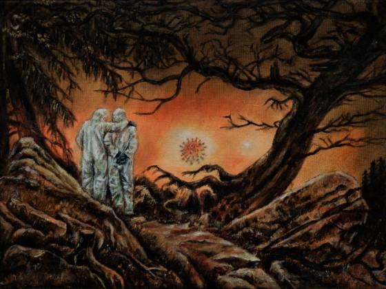 Zwei Männer in Betrachtung des Mondes (nach Caspar David Friedrich, Covid-Style)