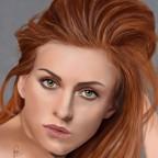 Frau mit roten Haar 28x35